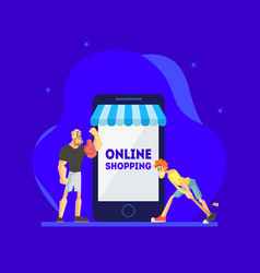 online shopping concept men standing near giant vector image