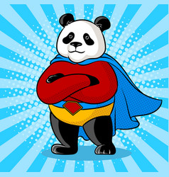 Panda superhero pop art vector