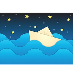 paper boat on sea and night sky background vector image