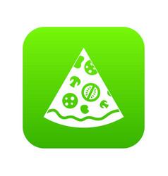 pizza slice icon digital green vector image
