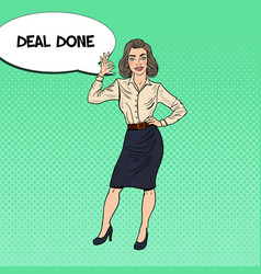 pop art happy business woman gesturing ok vector image