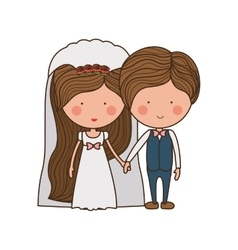 portrait of wedding couple with costumes vector image