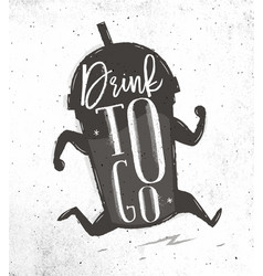 poster drink to go vector image