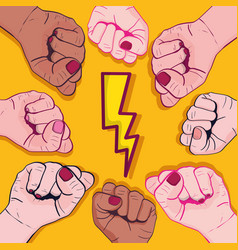 Power hand protest strong background vector