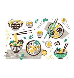 Ramen soup hand drawn set vector