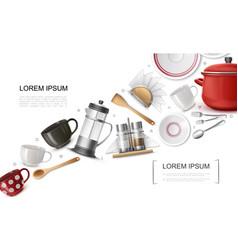realistic kitchenware elements set vector image