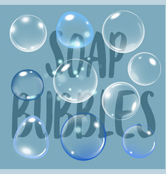 realistic soap bubble on blue background with text vector image