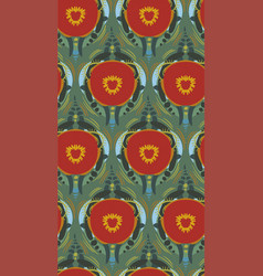 Red poppies backdrop seamless pattern floral vector