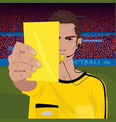 Referee whistling holds yellow card vector