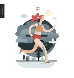 runners - girl exercising vector image