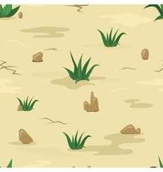 Sand texture with stones and grass vector