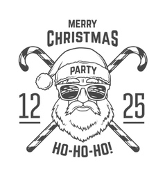 Santa Claus with hipster glasses and candy cones vector image