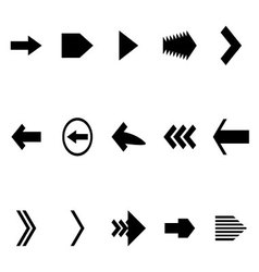 Set arrow black white icon vector image