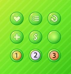 set bright green game ui elements - menu restart vector image