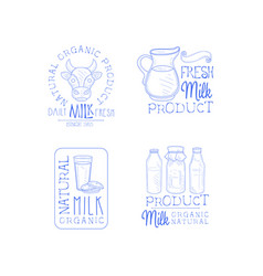 Set of 4 hand drawn emblems for fresh dairy vector