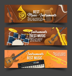 Set of isolated badges for music instruments vector