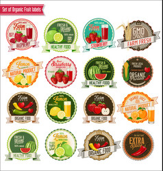 set of organic fruit labels collection vector image