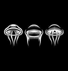 set three stylish marine jellyfish on black vector image