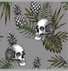 Skull pineapple pattern seamless vector