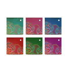 square paisley tags vector image
