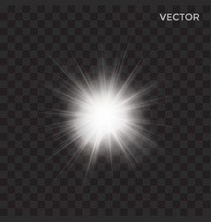 Starburst transparent white light vector