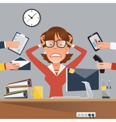Stressed Businesswoman in Office Work Place vector image