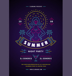 summer beach party flyer or poster template neon vector image