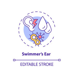 Swimmer ear concept icon vector