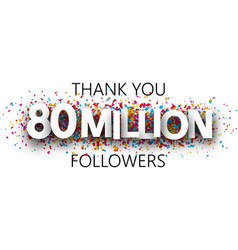Thank you 80 million followers banner with vector