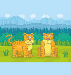 tigers couple vector image