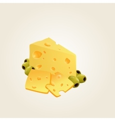 Triangular piece of cheese cheese realistic food vector image