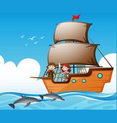Vikings on ship and dolphins in the sea vector