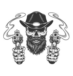 Vintage bearded and mustached sheriff skull vector