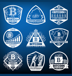 Vintage bitcoin currency labels set vector