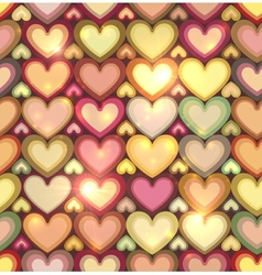 Vintage colors hearts seamless pattern vector image