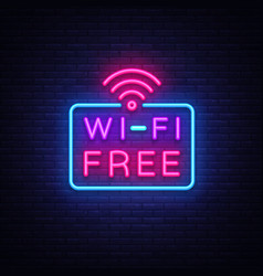 Wifi neon sign text design template vector