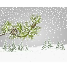 Winter landscape pine branch with snow vector