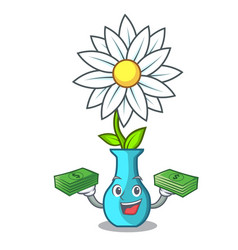 With money modern plant in a glass vase cartoon vector