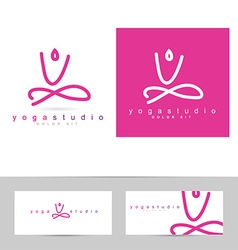 Yoga pose logo vector