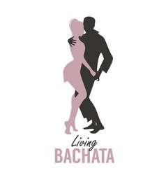 Young couple silhouettes dancing bachata salsa or vector
