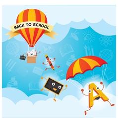 Education characters parachute hot air balloon vector