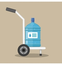 Hand truck with plastic bottle for water cooler vector image vector image