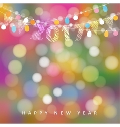 Happy new year greeting card with string of vector image