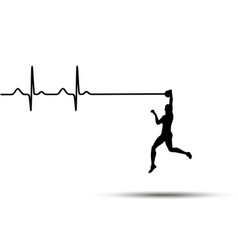 heartbeat electrocardiogram and running man vector image