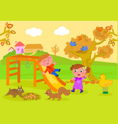 kids in park in autumn vector image vector image