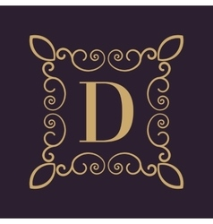Monogram letter d calligraphic ornament gold vector