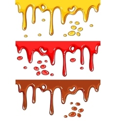 Set of chocolate honey and strawberry drips vector image