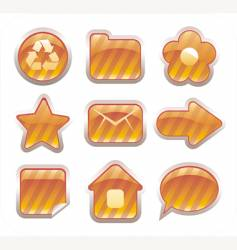 set of glossy golden icons vector image vector image