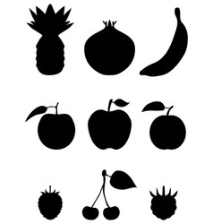 silhouettes of fruit vector image