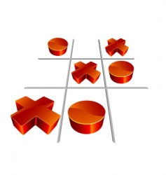 Tic-tac-toe 3D illustration vector image vector image